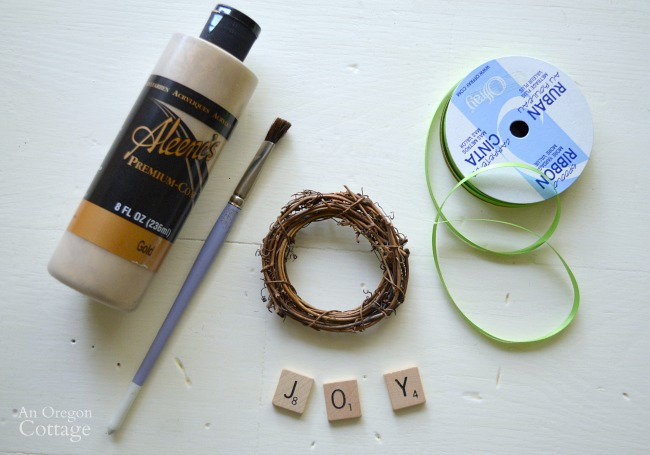 DIY Scrabble Tile Grapevine Wreath Ornament supplies