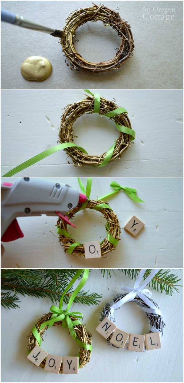 DIY Scrabble Tile Grapevine Wreath Ornament tutorial