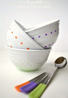 DIY Painted Bowl and Spoon Sets