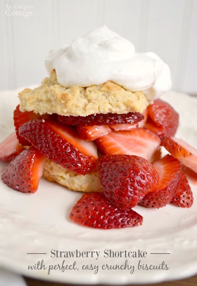 Strawberry Shortcake with perfect, easy homemade crunchy drop biscuits.