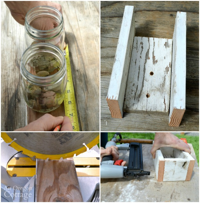 How to make a reclaimed wood box to hold mason jars