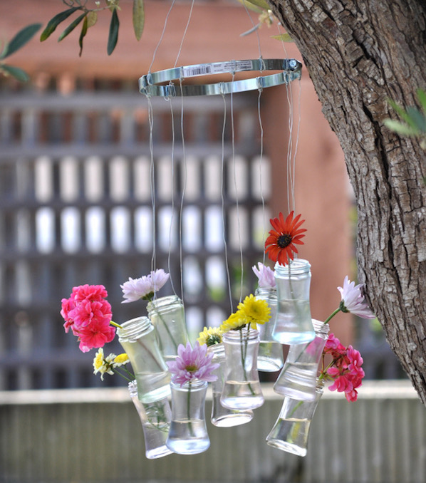 Upcycled garden: DIY wind chime and decor from upcycled bottles