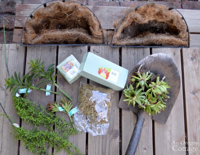 Quick Garden Shed Makeover-sedum basket supplies