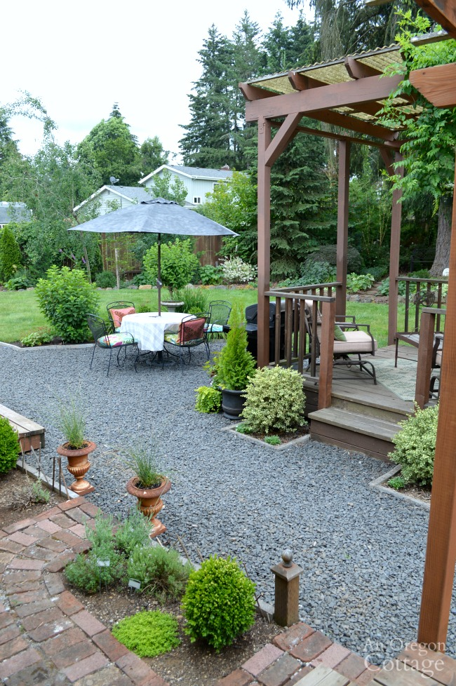 Garden Tour-Gravel patio and gazebo
