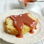 3 Ingredient Rhubarb Strawberry Sauce is delicious over lemon cake