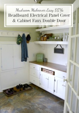 DIY Beadboard Electrical Panel Cover & Cabinet Faux Double Door