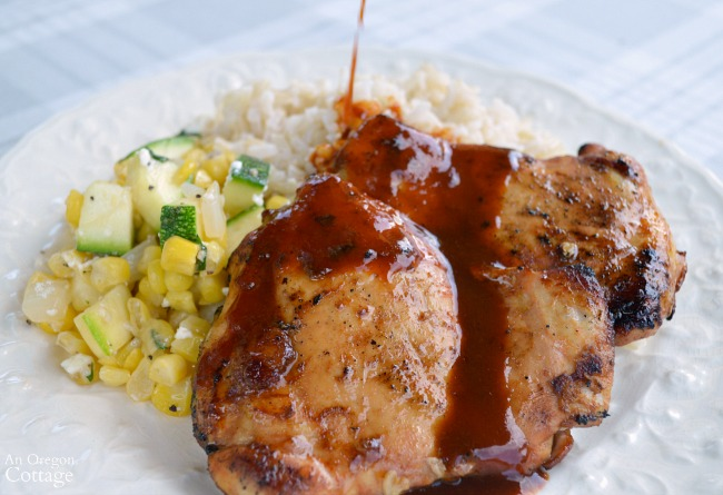 Soy Sriracha Marinated Chicken dinner with sauce