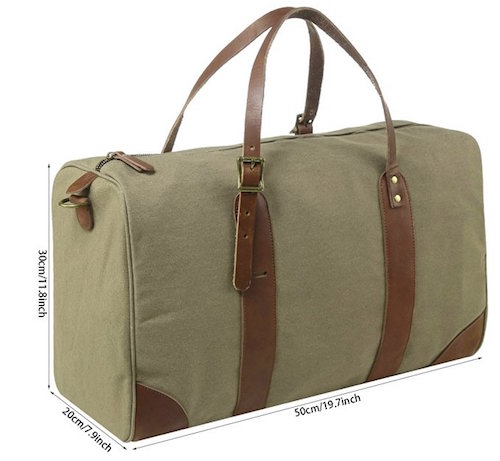 Medium canvas leather duffle bag