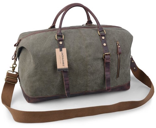 Large Canvas Leather Duffle Bag
