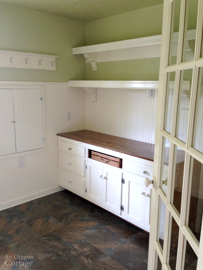 Empty farmhouse cottage laundry room