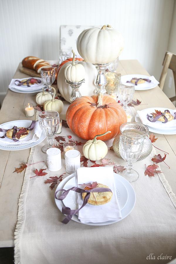 Pumpkins-mercury glass Thanksgiving tablescape via Ella Clair