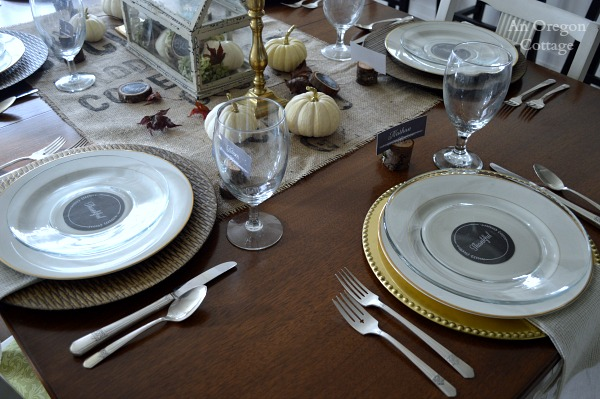 Rustic and Gold Thanksgiving table place settings