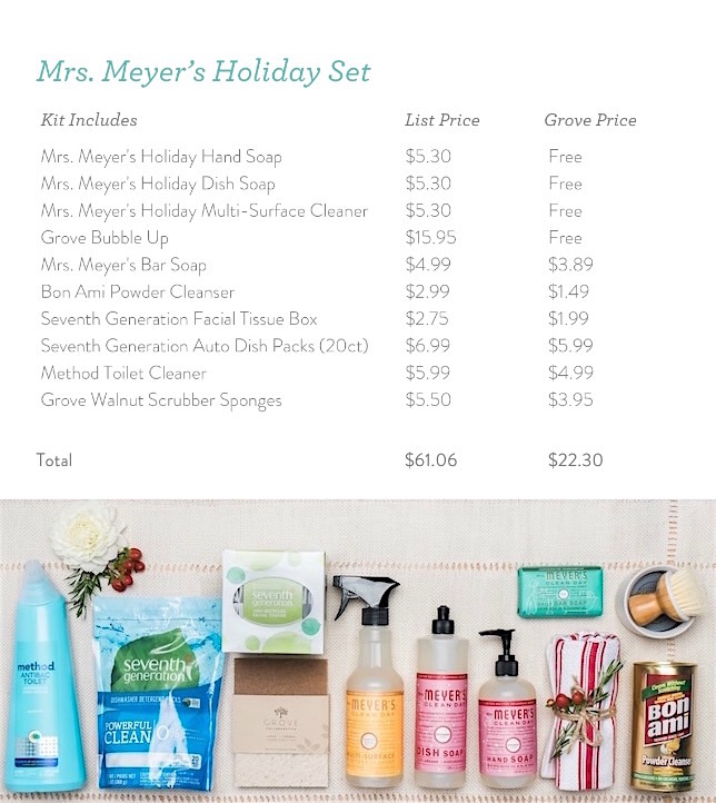 2016 Grove Collaborative holiday offer basket example