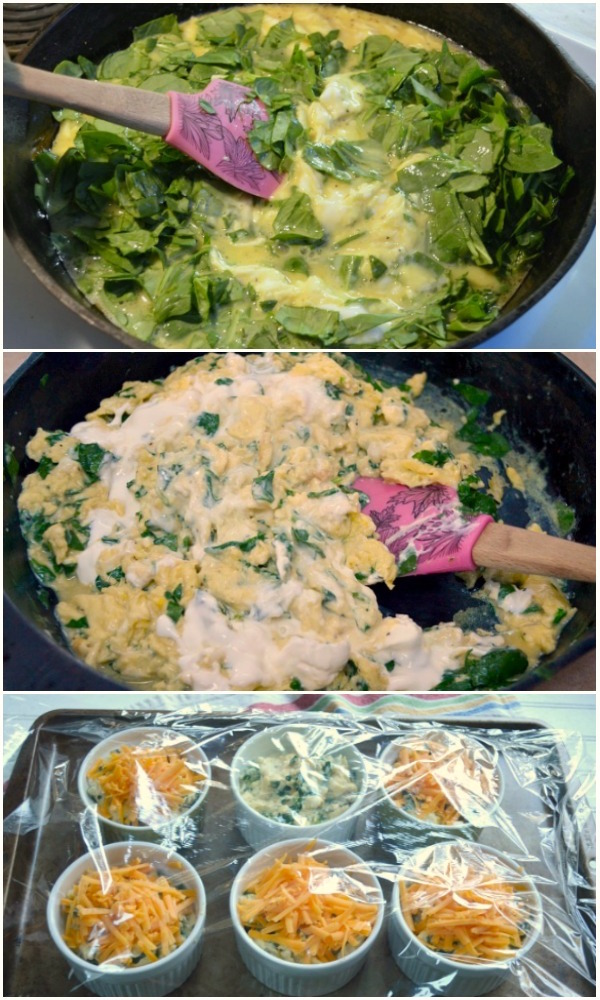 Making Overnight Scrambled Eggs with Spinach