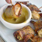 Maple mustard bacon chicken bites with an easy 2-ingredient dipping sauce makes a terrific appetizer for game day or any day. Be prepared to watch them disappear!