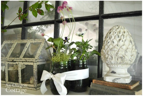 Farmhouse cottage Easter Spring Decor-Blooming Spring Mantel