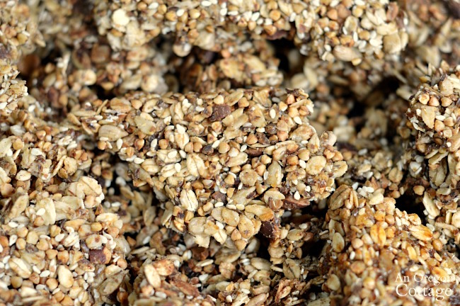 Buckwheat oat granola bark detail