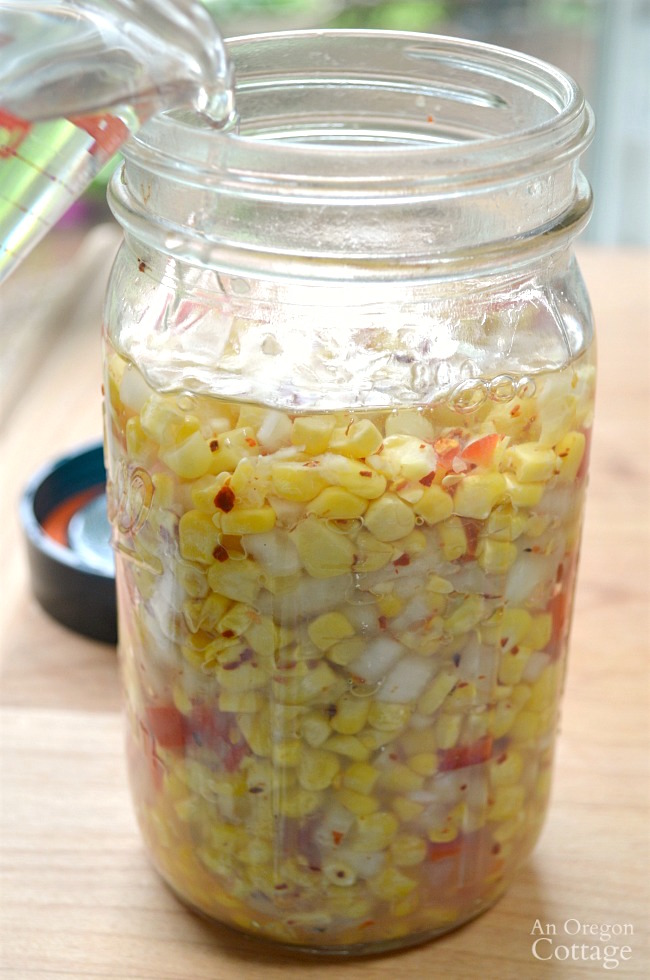 Easy Fermented Corn Relish-adding water
