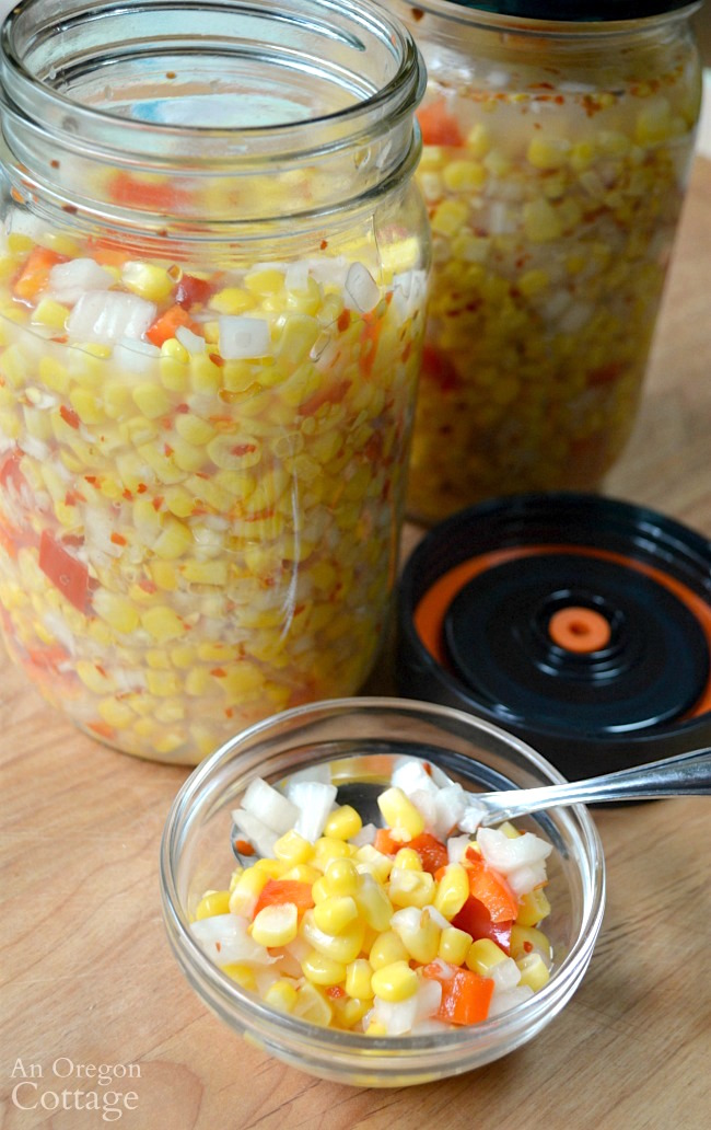 Foolproof Fermented Corn Relish recipe- a pickled relish to boost flavor of salads and burgers and aid in gut health, too.