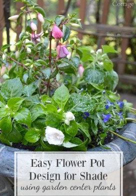 Easy Flower Pot Design for Shade Using Garden Center Plants