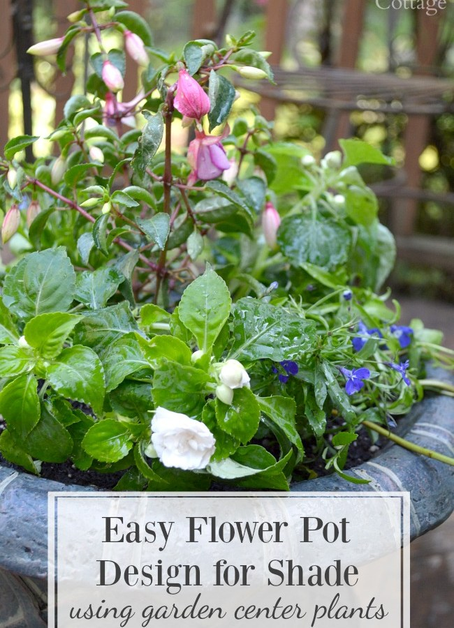 Easy Flower Pot Design for Shade using Garden Center Plants and container planting supplies and tips.