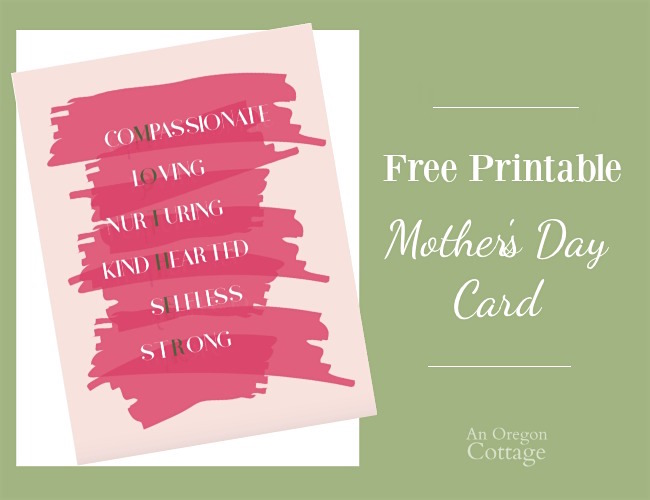 Mother's Day card free printable | An Oregon Cottage
