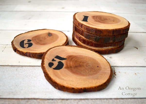 Tree branch numbered wood slice coasters