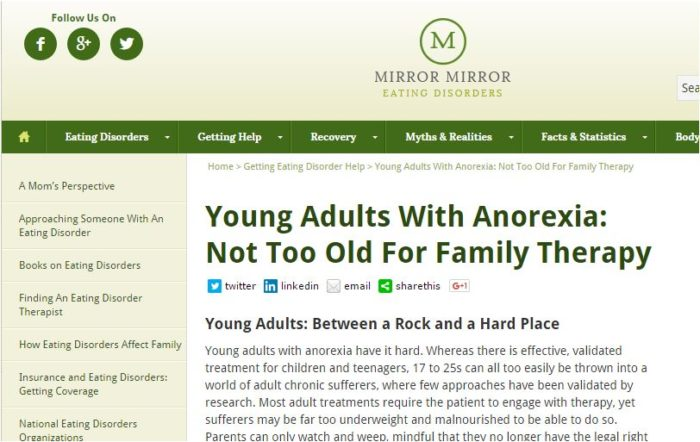 Mirror-Young adults anorexia family therapy