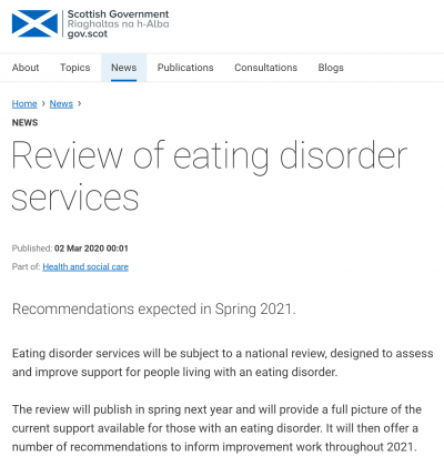 Scotland review of eating disorder services expected 2021