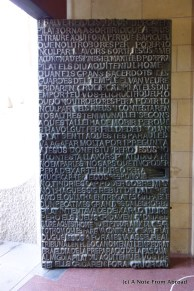 The bronze entry doors contain the text of St Matthew and St John which detail the last days of Jesus' life