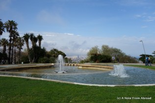 Fountain at Mirador with the city in the far background