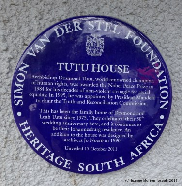 Plaque on the wall at Desmond Tutu house