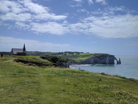 Normandy Etretat church arch aiguille