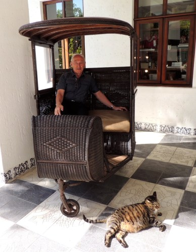 The Birthday boy sitting in one of the original Durban rickshaw's, and basking in the sun, is Skabenga, the hotel's resident 'Fat Cat', who has a penchant for caviar, prawns and crayfish.