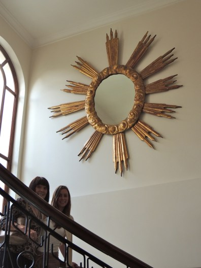 My sister and niece goofing around on the staircase.