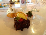 My delicious chocolate brownie dessert.