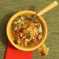 Spicy Italian Sausage, White Bean, and Spinach Soup
