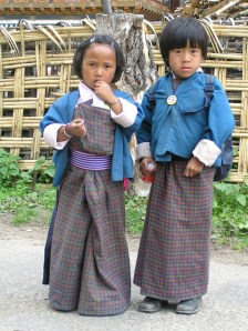 Visitors to Bumthang monastery, Bhutan