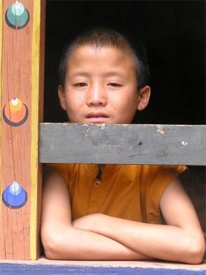 Novice monk, Punakha monastery, Bhutan
