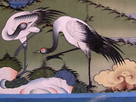 Black necked cranes in a mural in Punakha Dzong, Bhutan