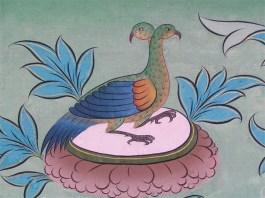 Pheasant in a mural in Punakha Dzong, Bhutan