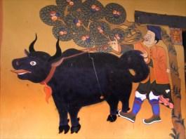 Yak in a mural in Thimphu, Bhutan