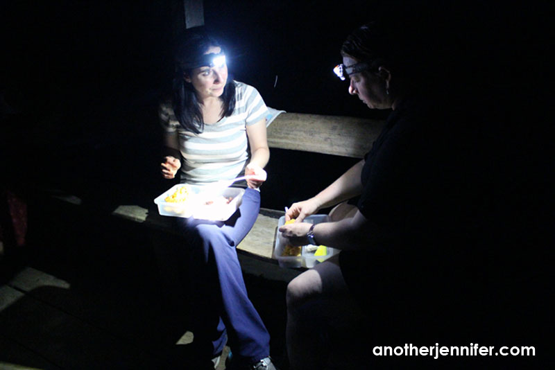 eating by headlamp