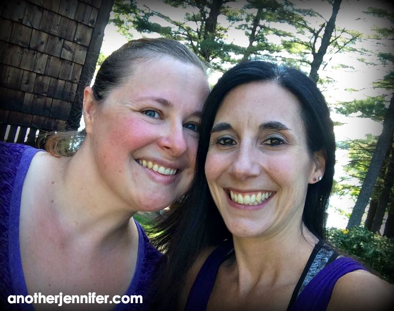 April and I after Friday morning's barefoot outdoor workout with the Androscoggin River behind us.