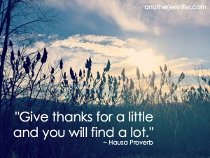 """Give thanks for a little and you will find a lot."" ~ Hausa Proverb"