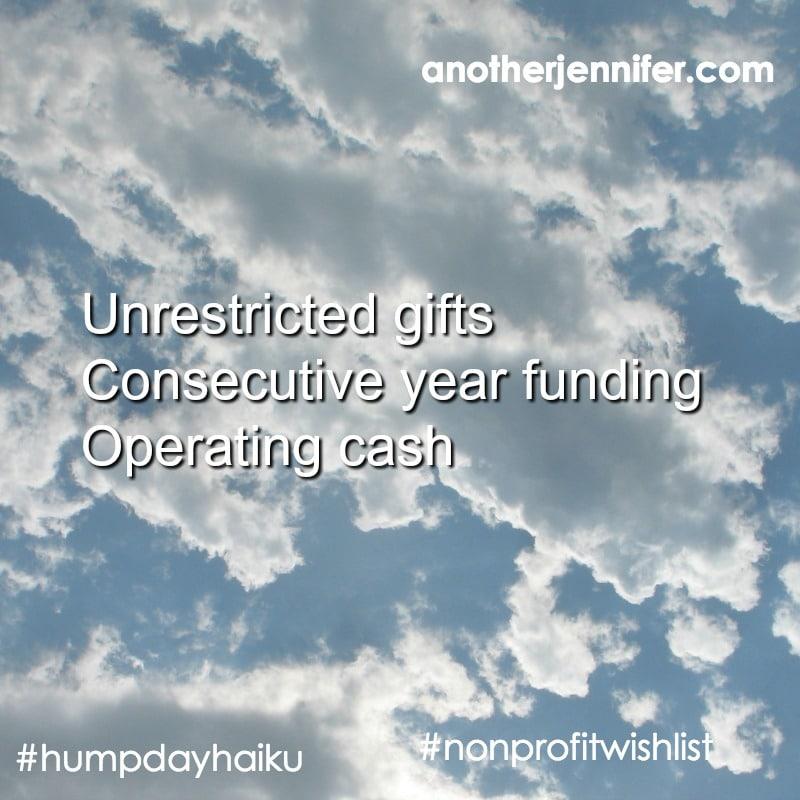 nonprofit development wish list haiku