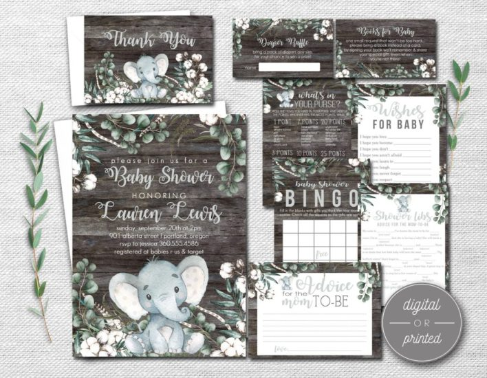 Rustic Elephant Baby Shower Themes For Girls