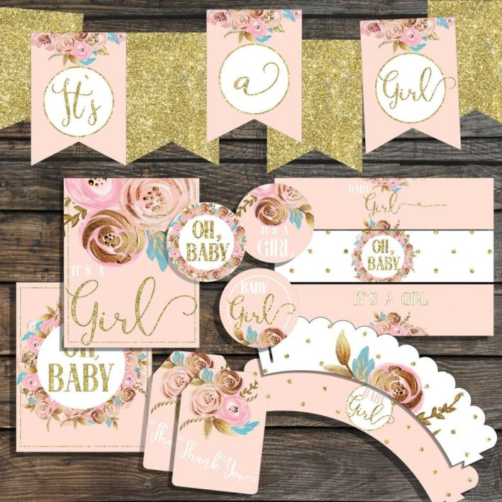 Pink and Gold Baby Shower Themes For Girls