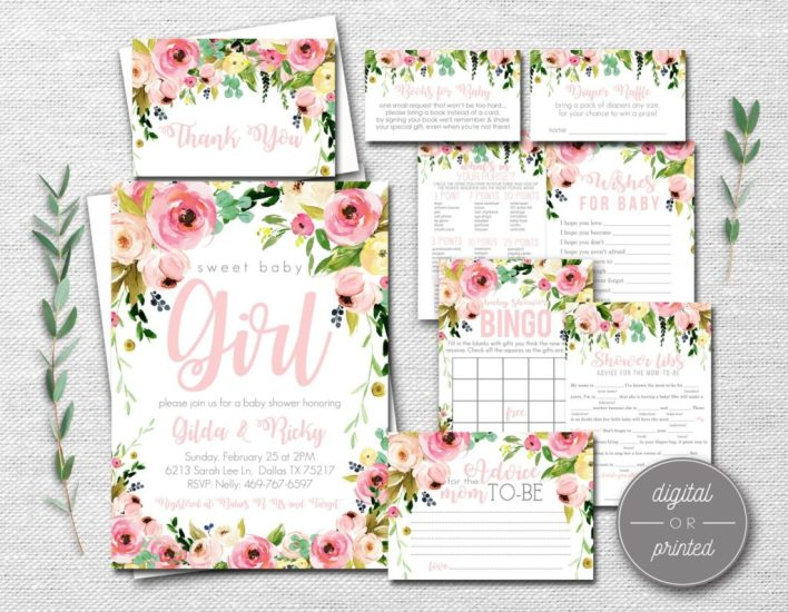 Watercolor Flower Baby Shower Themes For Girls