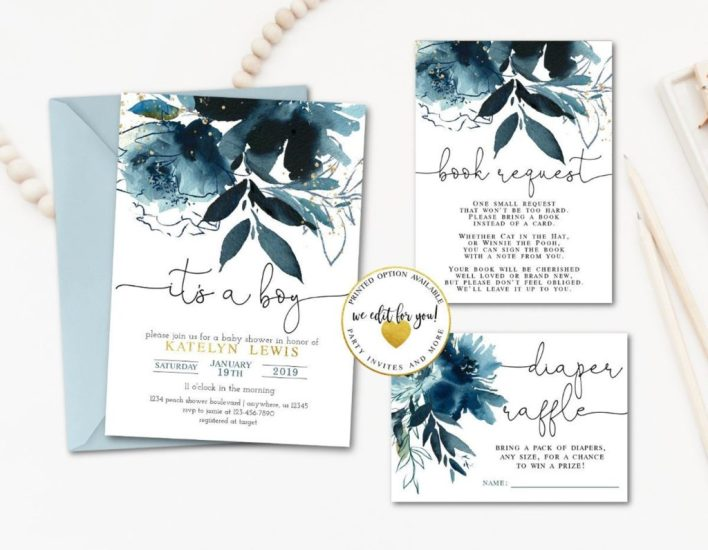 Floral Blue and Gold Baby Shower package for boys